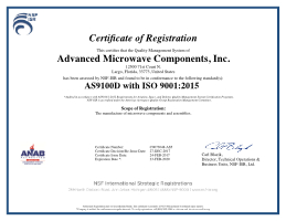 NSF / ISR Certificate of Registration
